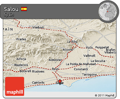 Map Of Spain Showing Salou.Free Shaded Relief Panoramic Map Of Salou