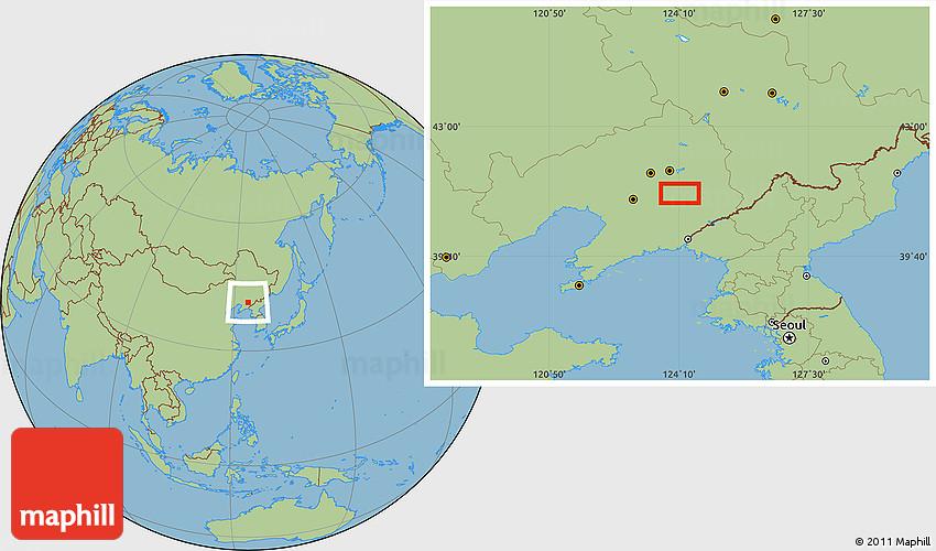 Savanna Style Location Map Of Benxi - Benxi map