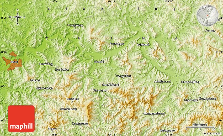 Physical Map Of Benxi - Benxi map