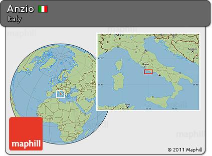 Free Savanna Style Location Map Of Anzio