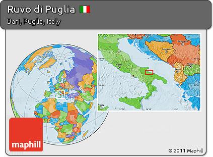 Free Political Location Map Of Ruvo Di Puglia