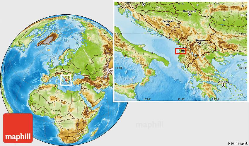 Physical Location Map of Tirana