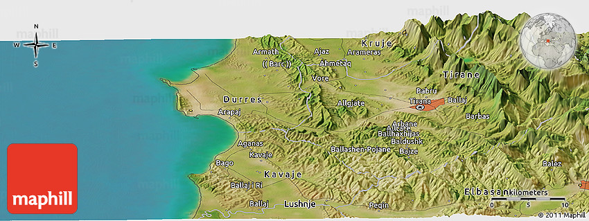 Satellite Panoramic Map of Tirana