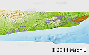 "Physical Panoramic Map of the area around 41° 16' 52"" N, 1° 46' 29"" E"