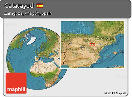 Calatayud Spain Map.Free Satellite Location Map Of Calatayud