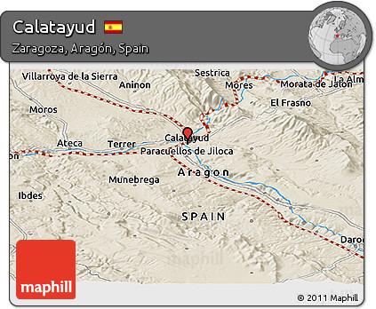 Calatayud Spain Map.Free Shaded Relief Panoramic Map Of Calatayud
