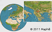 """Satellite Location Map of the area around 41°16'52""""N,21°19'30""""E"""