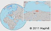 Gray Location Map of Armutlu
