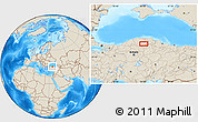 Shaded Relief Location Map of Armutlu