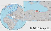 Gray Location Map of Samsun