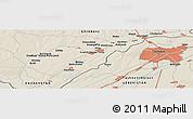 Shaded Relief Panoramic Map of Saryagash