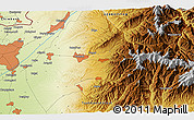 """Physical 3D Map of the area around 41°16'52""""N,69°46'30""""E"""