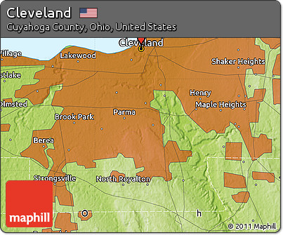 Free Physical Map Of Cleveland - Cleveland ohio on us map