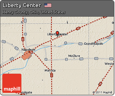 Free Shaded Relief Map Of Liberty Center