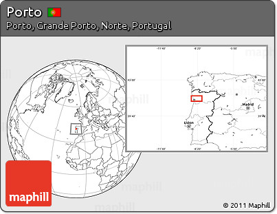 Blank Location Map of Porto