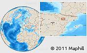 Shaded Relief Location Map of Zaragoza