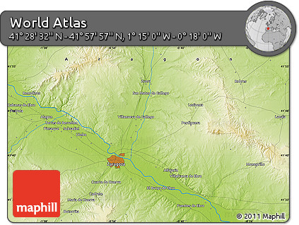 """Physical Map of the Area around 41°43'14""""N,0°46'30""""W"""