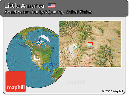 Little America Wyoming Map.Free Satellite Location Map Of Little America