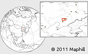 """Blank Location Map of the area around 41°43'14""""N,123°19'29""""E"""