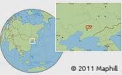 "Savanna Style Location Map of the area around 41°43'14""N,123°19'29""E"
