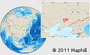 """Shaded Relief Location Map of the area around 41°43'14""""N,123°19'29""""E"""