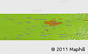 """Physical Panoramic Map of the area around 41°43'14""""N,123°19'29""""E"""