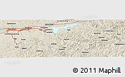 Shaded Relief Panoramic Map of Fushun