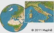 Satellite Location Map of Rome