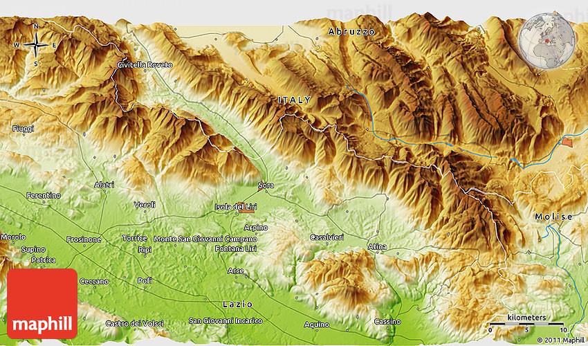 Physical 3D Map of San Vittore Del Lazio