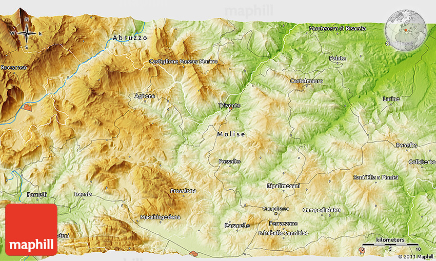 Physical 3D Map of Campobasso