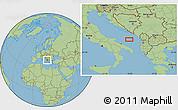 "Savanna Style Location Map of the area around 41°43'14""N,17°55'29""E"