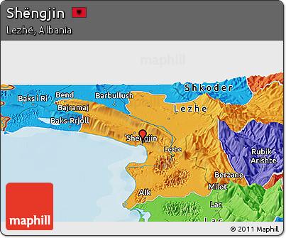 Political Panoramic Map of Shëngjin