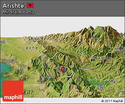 Satellite Panoramic Map of Arishtë