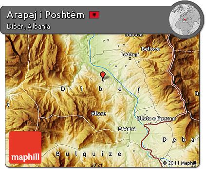 Physical Map of Arapaj I Poshtëm