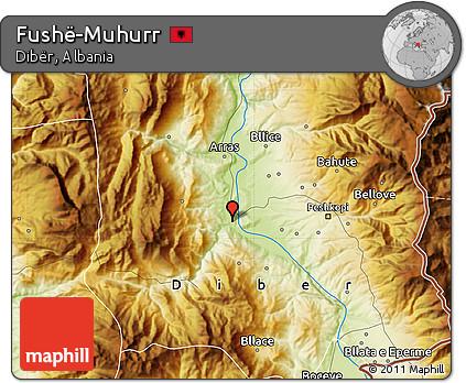 Physical Map of Fushë-Muhurr