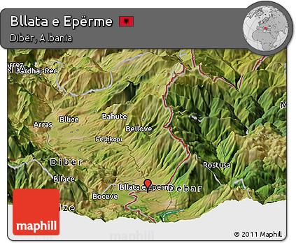 Satellite Panoramic Map of Bllata E Epërme