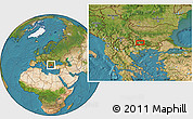 """Satellite Location Map of the area around 41°43'14""""N,23°52'30""""E"""