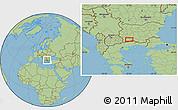 "Savanna Style Location Map of the area around 41°43'14""N,23°52'30""E"