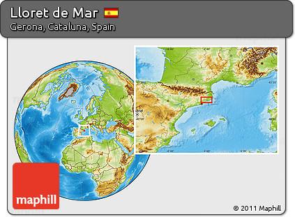Free Physical Location Map of Lloret De Mar