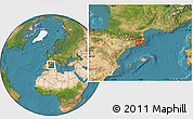 """Satellite Location Map of the area around 41°43'14""""N,2°37'30""""E"""