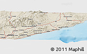 """Shaded Relief Panoramic Map of the area around 41°43'14""""N,2°37'30""""E"""