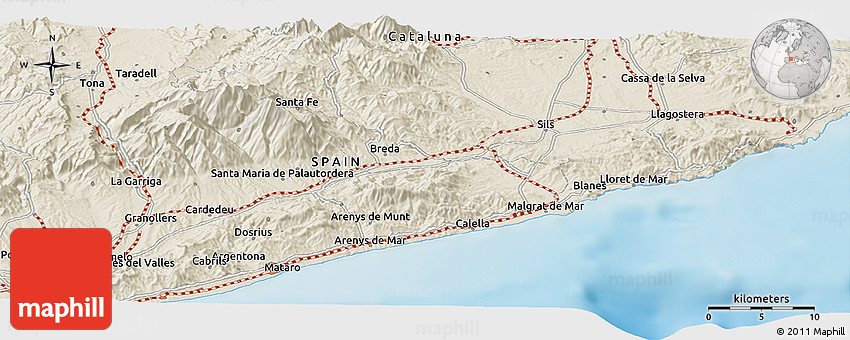 Shaded Relief Panoramic Map of Lloret De Mar