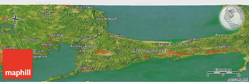 Satellite Panoramic Map of Popponesset Beach on