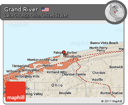 Free Shaded Relief Panoramic Map Of Grand River