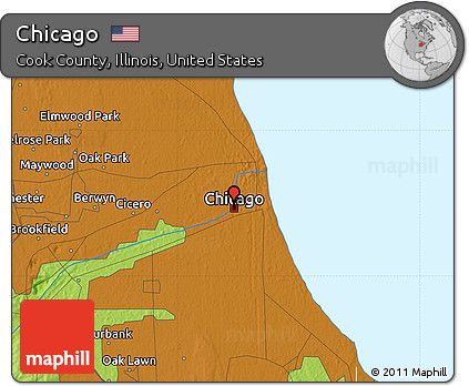 Free Physical Map Of Chicago - Us map chicago illinois