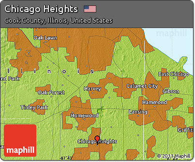Free Physical Map Of Chicago Heights - Illinois physical map
