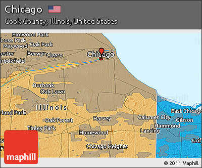 Free Political Panoramic Map of Chicago