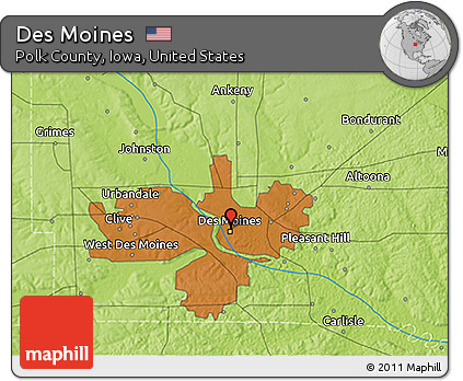 Free Physical 3D Map of Des Moines