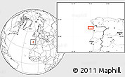 """Blank Location Map of the area around 41°43'14""""N,9°16'30""""W"""