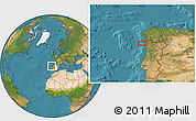 """Satellite Location Map of the area around 41°43'14""""N,9°16'30""""W"""